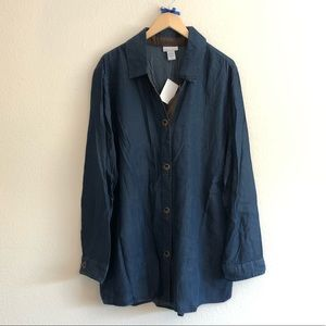 NWT PLUS Soft Surroundings Button Down Denim Top